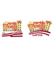 latvia national architecture and flag vector image