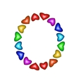 Letter O made of multicolored hearts vector image vector image