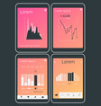 mobile app ui chart and diagram screens mockup kit vector image