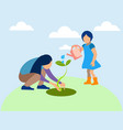 mom and daughter planted a plant agronomy in vector image vector image