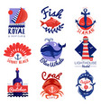 nautical emblems set vector image vector image