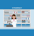 pharmacy interior with drug shelves and cashier vector image vector image