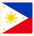 philippines square flag button social media vector image