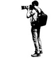 photographer with his telephoto lens - sketch vector image vector image