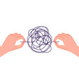psychotherapy help mind chaos metaphor hand vector image