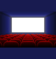 realistic cinema hall interior with blank white vector image vector image