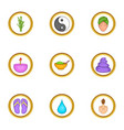 relaxing massage icons set cartoon style vector image vector image