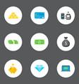 set of banking icons flat style symbols with money vector image