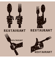 set of grunge vintage emblems of restaurant with vector image vector image
