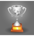 soccer ball trophy silver cup background vector image vector image