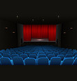 Theater stage with red curtains and blue seats vector image