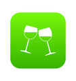 two wine glasses icon digital green vector image