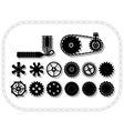 wheels and mechanisms silhouettes inside a bycicle vector image vector image