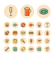icons thin red food sweets vector image