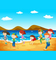 happy children playing on the beach vector image