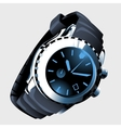 Modern mens watch with metal strap and black dial vector image
