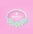 8 march happy womens day pink-white paper cut vector image vector image