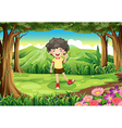a curly boy at forest vector image vector image