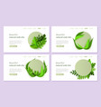 abstract green floral website templates set vector image vector image