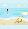 beach landscape with sun lounger and sun umbrella vector image vector image