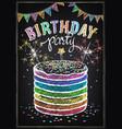 birthday invitation card birthday cake with vector image vector image
