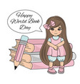 book girl world book day knowledge school children vector image vector image