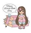 book girl world day knowledge school children vector image