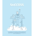 Businessman flying on the jetpack to success Line vector image
