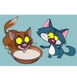 cartoon funny kittens drinking milk vector image vector image
