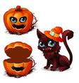cat in hat and box pumpkin halloween character vector image vector image
