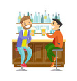 caucasian white friends drinking beer in a bar vector image vector image