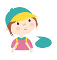 cute little girl with bubble speech isolated vector image vector image