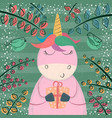 cute unicorn in the magic forest vector image