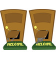 door with a cat flap vector image vector image