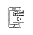 dotted shape smartphone technology with vector image