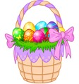 Easter basket with colorful eggs vector | Price: 1 Credit (USD $1)