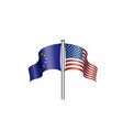 european union and american flags vector image vector image