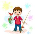 fisherman and fish vector image vector image