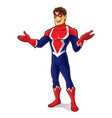 friendly superhero wellcome vector image vector image
