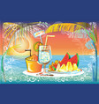 fruit juice set in sunset at the sea beach vector image