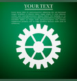 gear icon isolated on green background vector image vector image