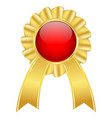 golden award badge with red center and ribbon vector image vector image