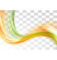 Green and orange smooth blurred transparent waves vector image vector image