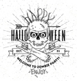 Halloween poster with zombie head and hend line