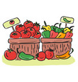 harvest - basket with and vegetables vector image vector image
