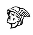 head hermes greek god mascot black and white vector image
