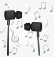 headphones with notes vector image