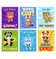 hero animals cards children brave zoo superheroes vector image vector image