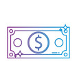 line bill dollar cash money to commercial economy vector image vector image