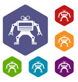 machine icons set hexagon vector image vector image